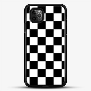 Checkered Black And White iPhone 11 Pro Max Case, Black Rubber Case | JoeYellow.com
