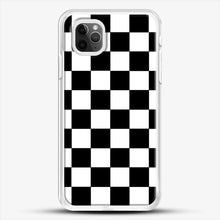 Load image into Gallery viewer, Checkered Black And White iPhone 11 Pro Max Case, White Rubber Case | JoeYellow.com
