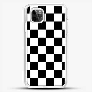 Checkered Black And White iPhone 11 Pro Max Case, White Rubber Case | JoeYellow.com