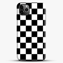 Load image into Gallery viewer, Checkered Black And White iPhone 11 Pro Max Case, Black Snap 3D Case | JoeYellow.com