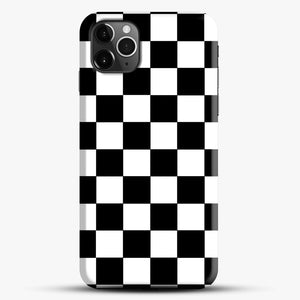 Checkered Black And White iPhone 11 Pro Max Case, Black Snap 3D Case | JoeYellow.com