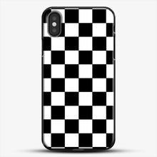 Load image into Gallery viewer, Checkered Black And White iPhone X Case, Black Plastic Case | JoeYellow.com