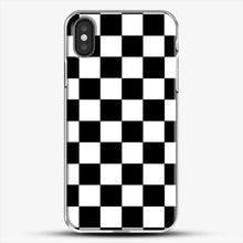 Load image into Gallery viewer, Checkered Black And White iPhone X Case, White Plastic Case | JoeYellow.com