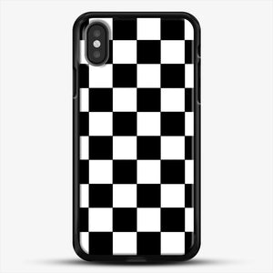 Checkered Black And White iPhone X Case, Black Rubber Case | JoeYellow.com
