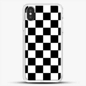 Checkered Black And White iPhone X Case, White Rubber Case | JoeYellow.com