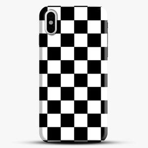 Checkered Black And White iPhone X Case, Black Snap 3D Case | JoeYellow.com