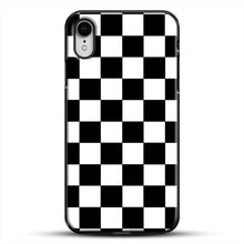 Load image into Gallery viewer, Checkered Black And White iPhone XR Case, Black Plastic Case | JoeYellow.com