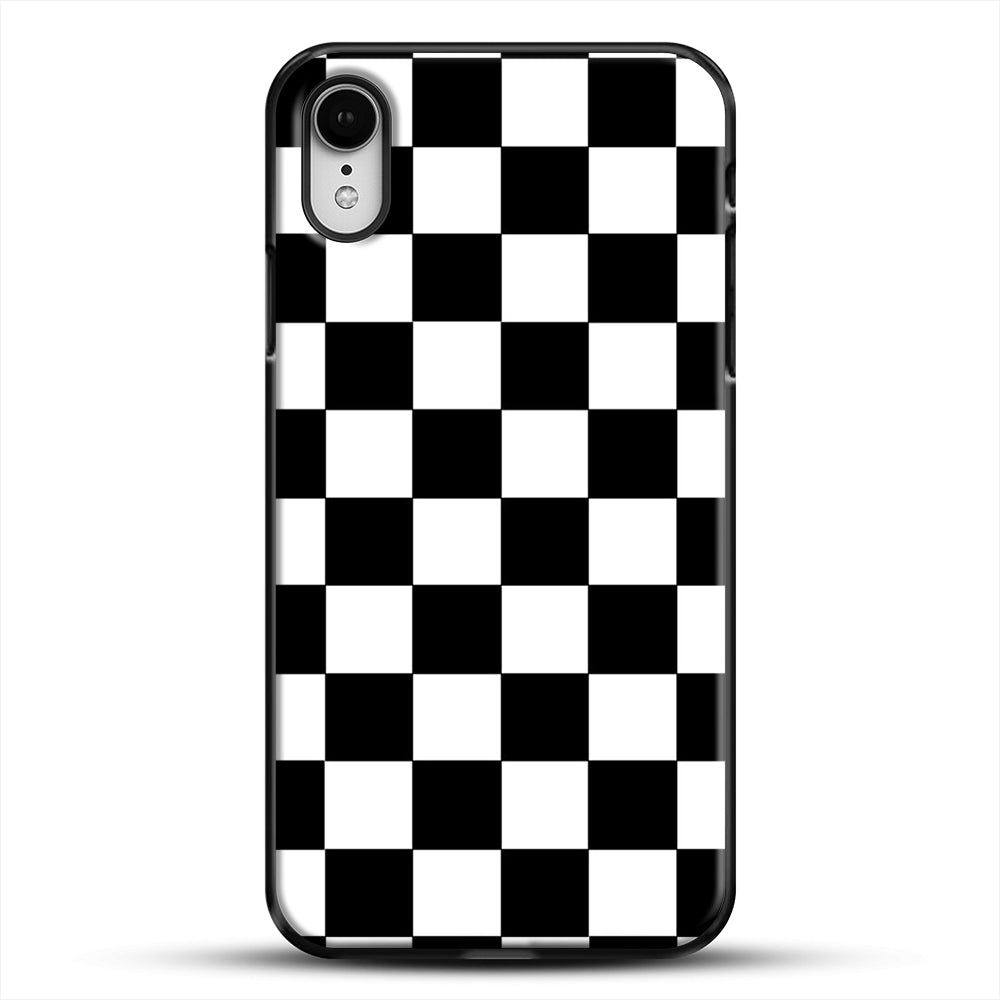Checkered Black And White iPhone XR Case, Black Plastic Case | JoeYellow.com