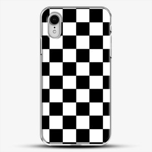 Checkered Black And White iPhone XR Case, White Plastic Case | JoeYellow.com