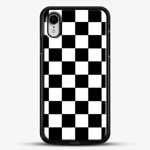 Checkered Black And White iPhone XR Case, Black Rubber Case | JoeYellow.com