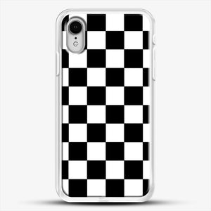 Checkered Black And White iPhone XR Case, White Rubber Case | JoeYellow.com
