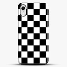 Load image into Gallery viewer, Checkered Black And White iPhone XR Case, Black Snap 3D Case | JoeYellow.com