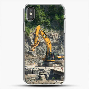 Construction Big Cat iPhone X Case, White Plastic Case | JoeYellow.com