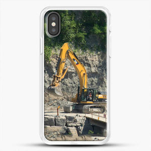 Construction Big Cat iPhone X Case, White Rubber Case | JoeYellow.com