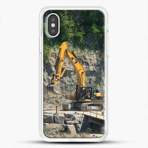 Construction Big Cat iPhone XS Case, White Rubber Case | JoeYellow.com