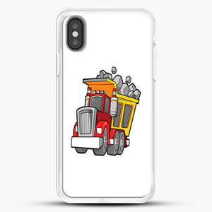 Construction Kid Dump Truck iPhone X Case, White Rubber Case | JoeYellow.com