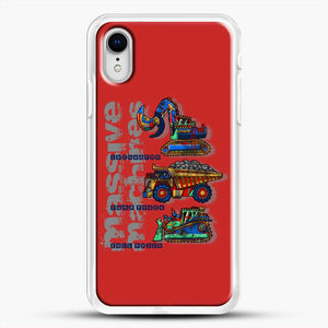 Construction Massive Machines iPhone XR Case, White Rubber Case | JoeYellow.com