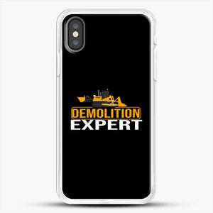 Construction Master Builder iPhone X Case, White Rubber Case | JoeYellow.com