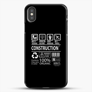 Construction Multitasking Will Travel iPhone X Case, Black Plastic Case | JoeYellow.com