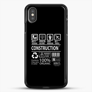 Construction Multitasking Will Travel iPhone X Case, Black Rubber Case | JoeYellow.com