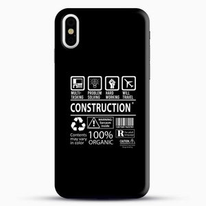 Construction Multitasking Will Travel iPhone X Case, Black Snap 3D Case | JoeYellow.com