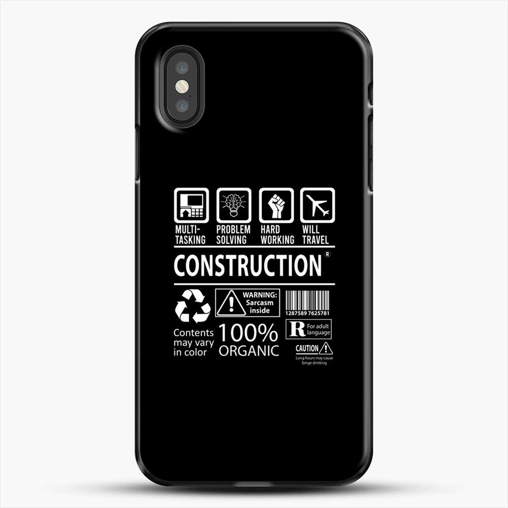 Construction Multitasking Will Travel iPhone XS Case, Black Plastic Case | JoeYellow.com