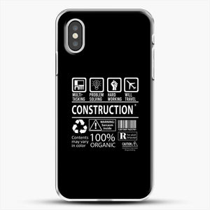 Construction Multitasking Will Travel iPhone XS Case, White Plastic Case | JoeYellow.com