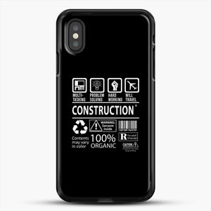 Construction Multitasking Will Travel iPhone XS Case, Black Rubber Case | JoeYellow.com