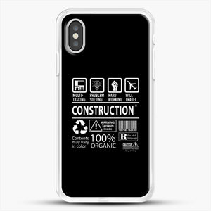Construction Multitasking Will Travel iPhone XS Case, White Rubber Case | JoeYellow.com
