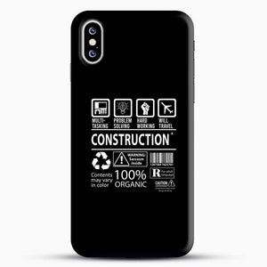Construction Multitasking Will Travel iPhone XS Case, Black Snap 3D Case | JoeYellow.com