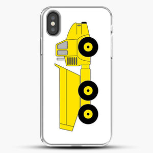 Construction Off Road Dump Truck iPhone X Case, White Plastic Case | JoeYellow.com