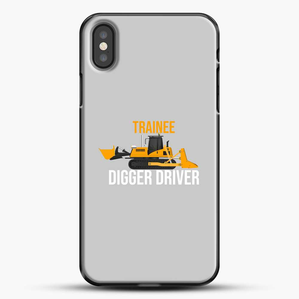 Construction Trainee Digger Driver iPhone X Case, Black Plastic Case | JoeYellow.com