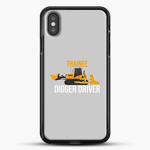 Construction Trainee Digger Driver iPhone X Case, Black Rubber Case | JoeYellow.com