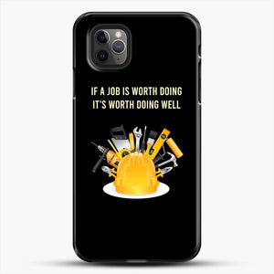 Construction Worker Art iPhone 11 Pro Max Case, Black Plastic Case | JoeYellow.com