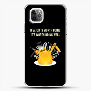 Construction Worker Art iPhone 11 Pro Max Case, White Plastic Case | JoeYellow.com