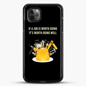 Construction Worker Art iPhone 11 Pro Max Case, Black Rubber Case | JoeYellow.com