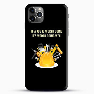 Construction Worker Art iPhone 11 Pro Max Case, Black Snap 3D Case | JoeYellow.com