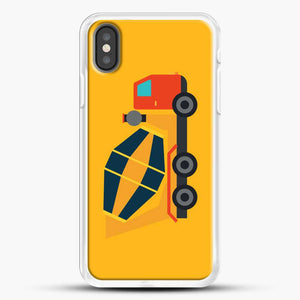 Construction Yellow Cement Truck iPhone X Case, White Rubber Case | JoeYellow.com
