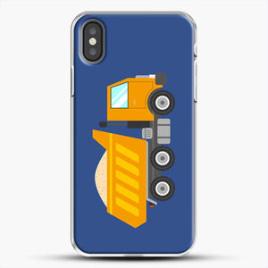 Construction Yellow Dump Truck iPhone X Case, White Plastic Case | JoeYellow.com