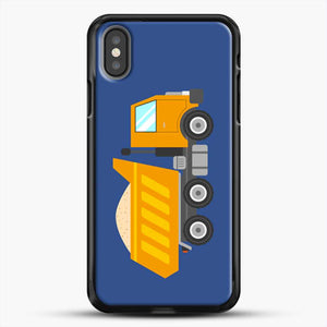 Construction Yellow Dump Truck iPhone X Case, Black Rubber Case | JoeYellow.com