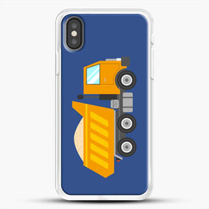 Construction Yellow Dump Truck iPhone X Case, White Rubber Case | JoeYellow.com