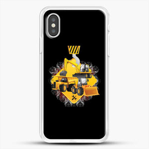Construction Yellow Truck iPhone XS Case, White Rubber Case | JoeYellow.com