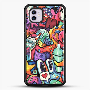 Copic Marker Doodle iPhone 11 Case, Black Rubber Case | JoeYellow.com