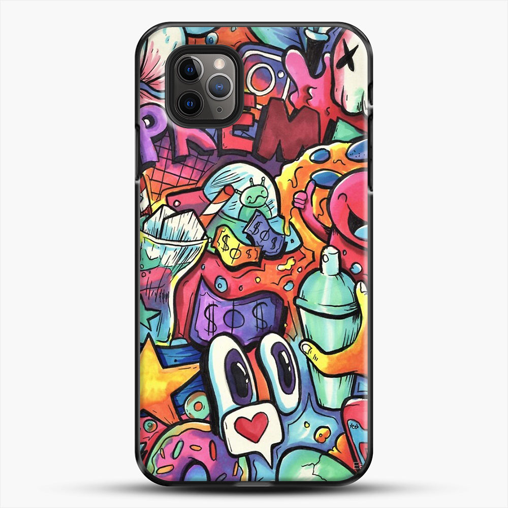 Copic Marker Doodle iPhone 11 Pro Max Case, Black Plastic Case | JoeYellow.com