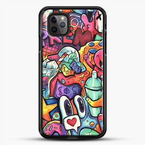 Copic Marker Doodle iPhone 11 Pro Max Case, Black Rubber Case | JoeYellow.com
