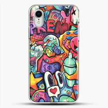 Load image into Gallery viewer, Copic Marker Doodle iPhone XR Case, White Plastic Case | JoeYellow.com