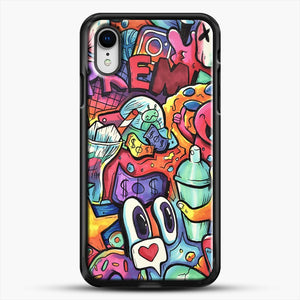Copic Marker Doodle iPhone XR Case, Black Rubber Case | JoeYellow.com