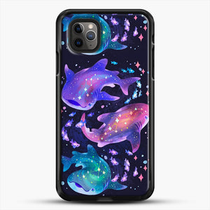 Cosmic Whale Shark iPhone 11 Pro Max Case, Black Rubber Case | JoeYellow.com