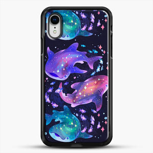 Cosmic Whale Shark iPhone XR Case, Black Rubber Case | JoeYellow.com