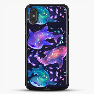 Cosmic Whale Shark iPhone XS Max Case, Black Rubber Case | JoeYellow.com